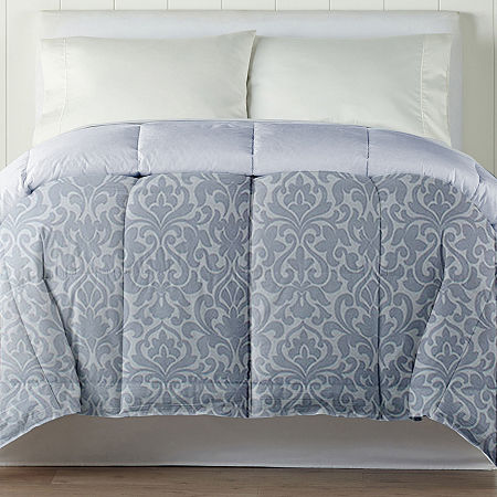 Home Expressions Classic Plus Down Alternative Reversible Comforter with Scotchgard, One Size , Blue