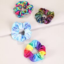 4pcs Color Block Scrunchie