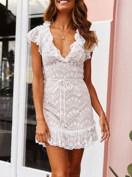 Milanoo White Lace Dresses V Neck Cap Sleeves Ruffles Sexy Dresses