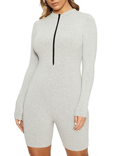 Milanoo Light Gray Jewel Neck Long Sleeves Zipper Irregular Polyester Skinny Summer One Piece Outfit