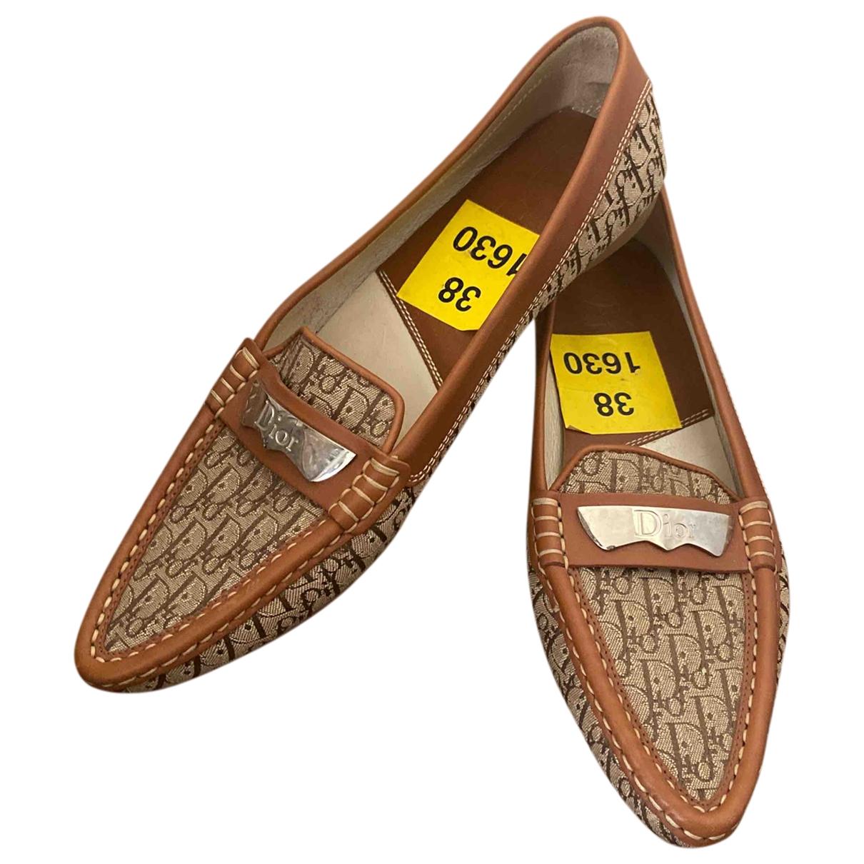 Dior \N Brown Cloth Flats for Women 38 EU