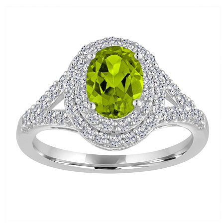 Womens Genuine Green Peridot Sterling Silver Cocktail Ring, 7 , No Color Family
