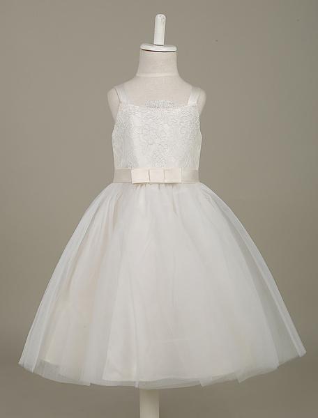 Milanoo White Flower Girl Dresses Lace Tulle Beaded Tutu Dress Sleeveless Bow Sash Toddler's Dinner Dress