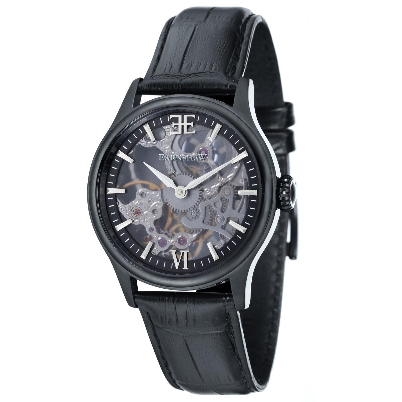 Thomas Earnshaw Men's Bauer Shadow Skeleton Mechanical ES-8061-05 Black Leather Hand Wind Fashion Watch
