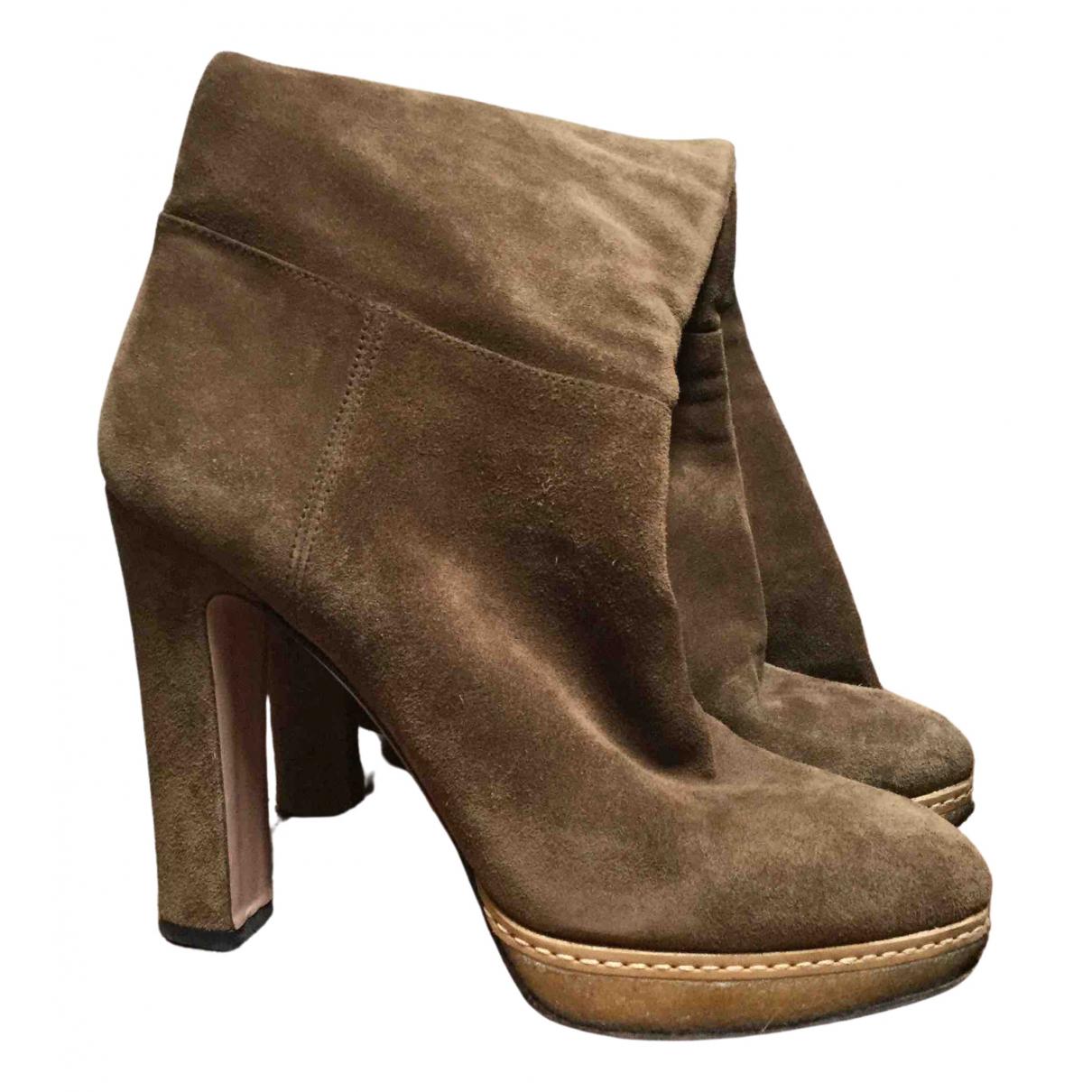 Prada \N Camel Suede Boots for Women 37 EU