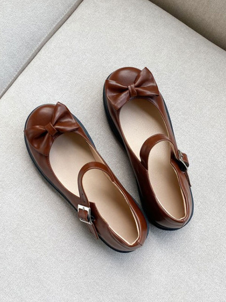 Milanoo Lolita Footwear Bows Flat PU Leather Lolita Pumps Shoes