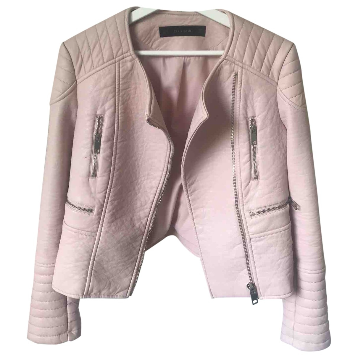 Zara \N Pink Leather jacket for Women M International