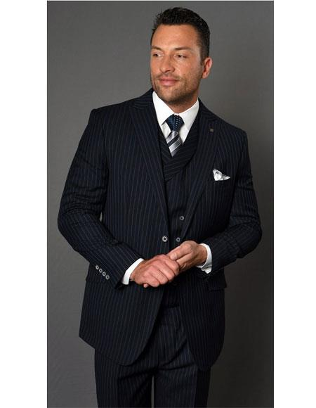 Mens Two Button Single Breasted Striped Pattern Navy Suit