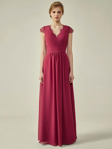 Milanoo Bridesmaid Dresses V Neck A Line Floor Length Chiffon Wedding Party Dress