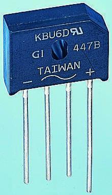 ON Semiconductor GBU6M, Bridge Rectifier, 6A 1000V, 4-Pin GBU (20)