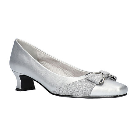 Easy Street Womens Rejoice Pumps Spike Heel, 9 1/2 Medium, Silver