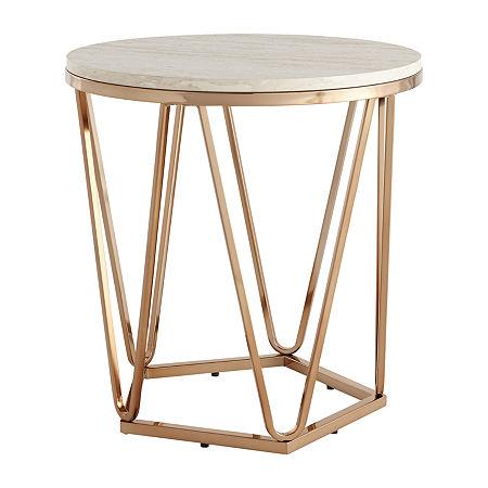 Brasia Round Faux Stone Coffee Table, One Size , Yellow