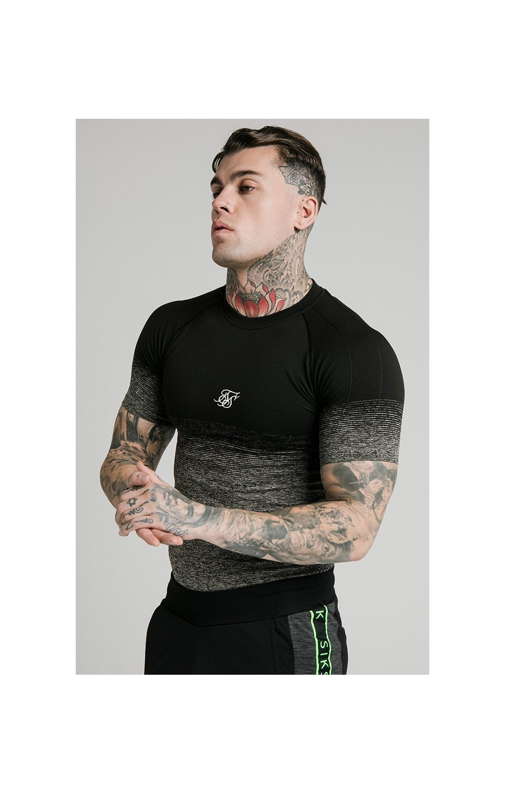 SikSilk Fade Compression Tee - Black & Grey MEN SIZES TOP: Small