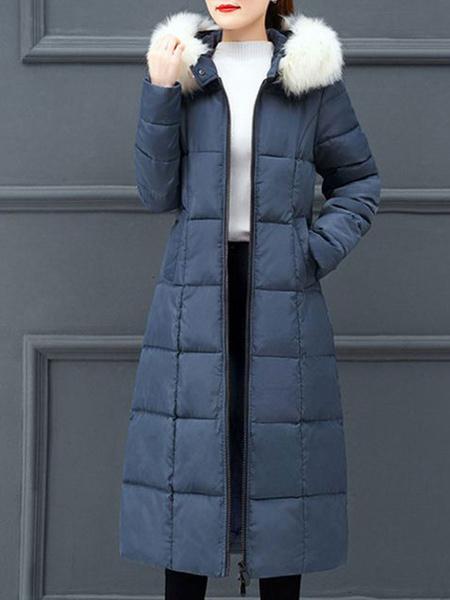 Milanoo Puffer Coats Blue Color Block Casual Women Oversized Hooded Long Sleeves Winter Coat