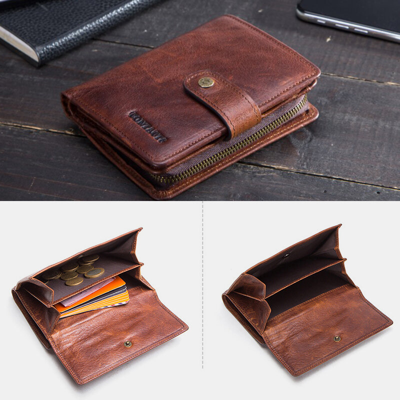 Men RFID Genuine Leather Money Clip Multi-card Slots Coin Purse Photo Case Wallet