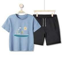 Boys Cartoon Print Tee & Shorts