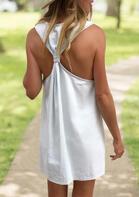 Ruffled Open Back Mini Dress - White
