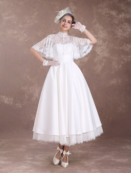 Milanoo Short Wedding Dresses Boho Butterfly Sleeve Bridal Dress Lace High Collar Cut Out Pleated Tiered A Line Wedding Reception Dress