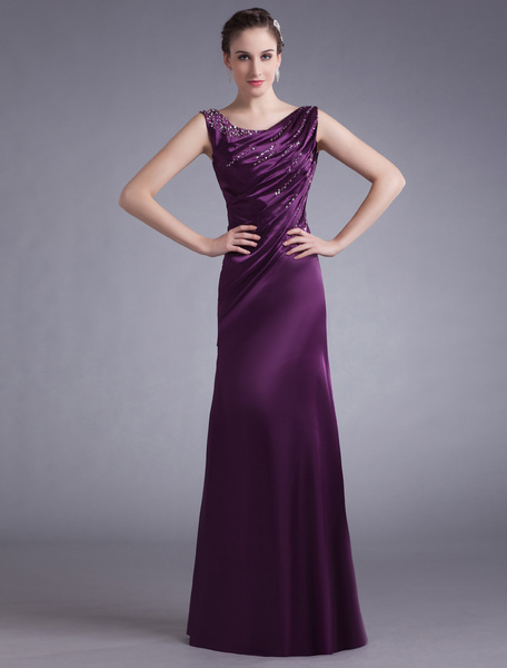 Milanoo Lavender Evening Dress Satin Sleeveless Beading Mother 'S Dress Ruched Floor Length Long Prom Dress