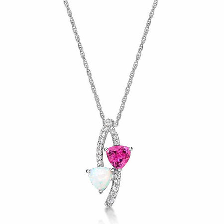 Lab-Created Opal and Pink & White Lab-Created Sapphire Sterling Silver Pendant Necklace, One Size , No Color Family