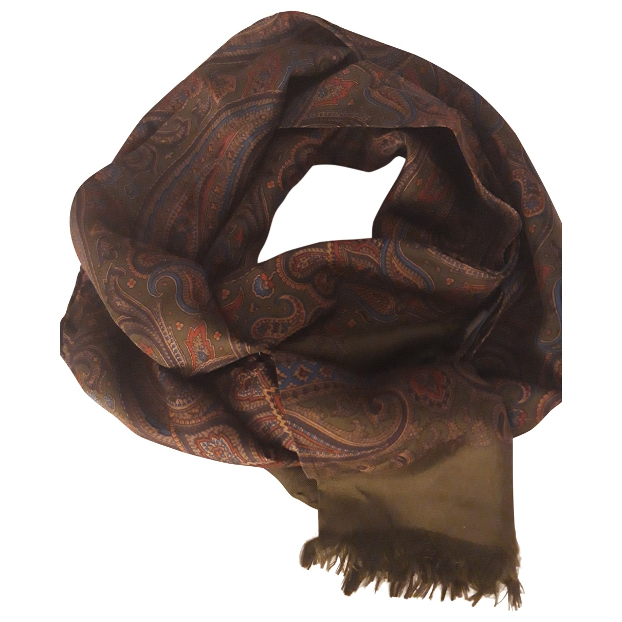 Non Signé / Unsigned \N Khaki Silk scarf & pocket squares for Men \N