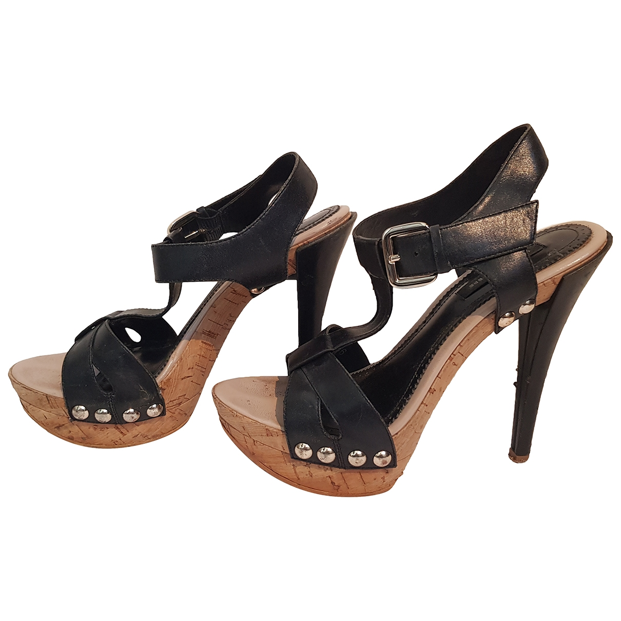 Patrizia Pepe \N Black Leather Sandals for Women 36 EU
