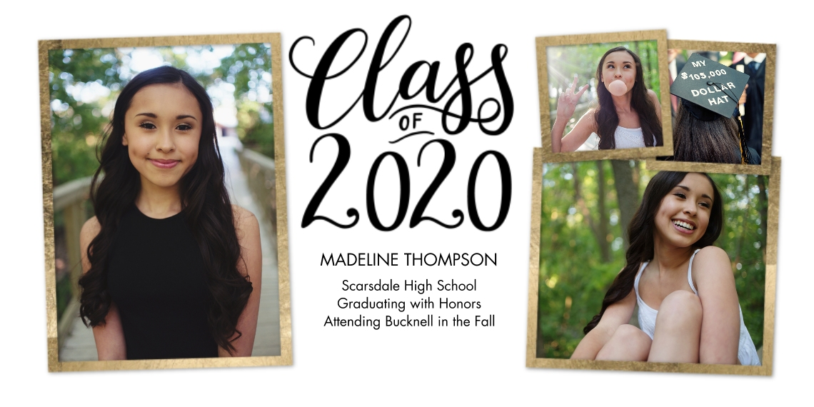 2020 Graduation Announcements Flat Glossy Photo Paper Cards with Envelopes, 4x8, Card & Stationery -2020 Gold Frames by Tumbalina