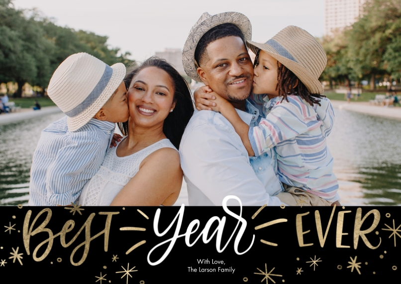 New Year's Photo Cards 5x7 Cards, Standard Cardstock 85lb, Card & Stationery -New Year Best Year Ever Collage by Tumbalina