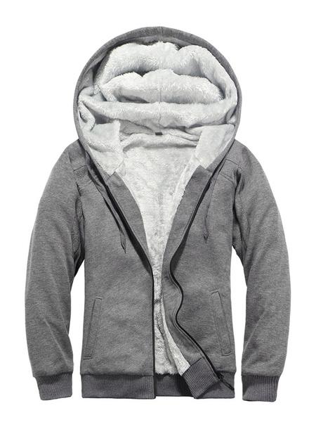 Milanoo Men\'s Full Zip Fleece Hoodie In Grey