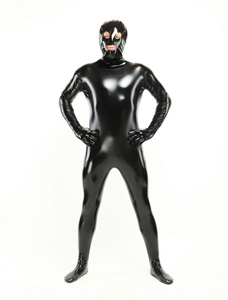 Milanoo Morph Suit Black Unisex Open Mouth And Eyes Designed PVC BodySuit Clothes Costumes