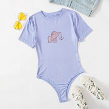 Cartoon Elephant Graphic Tee Bodysuit