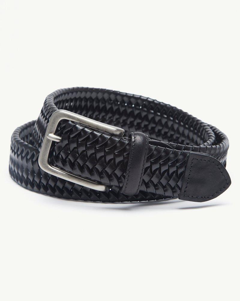 Big & Tall Braided Leather Stretch Belt