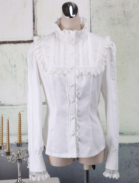 Milanoo White Cotton Lolita Blouse Long Sleeves Lace Trim Stand Collar