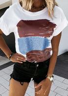 Color Block O-Neck T-Shirt Tee - White