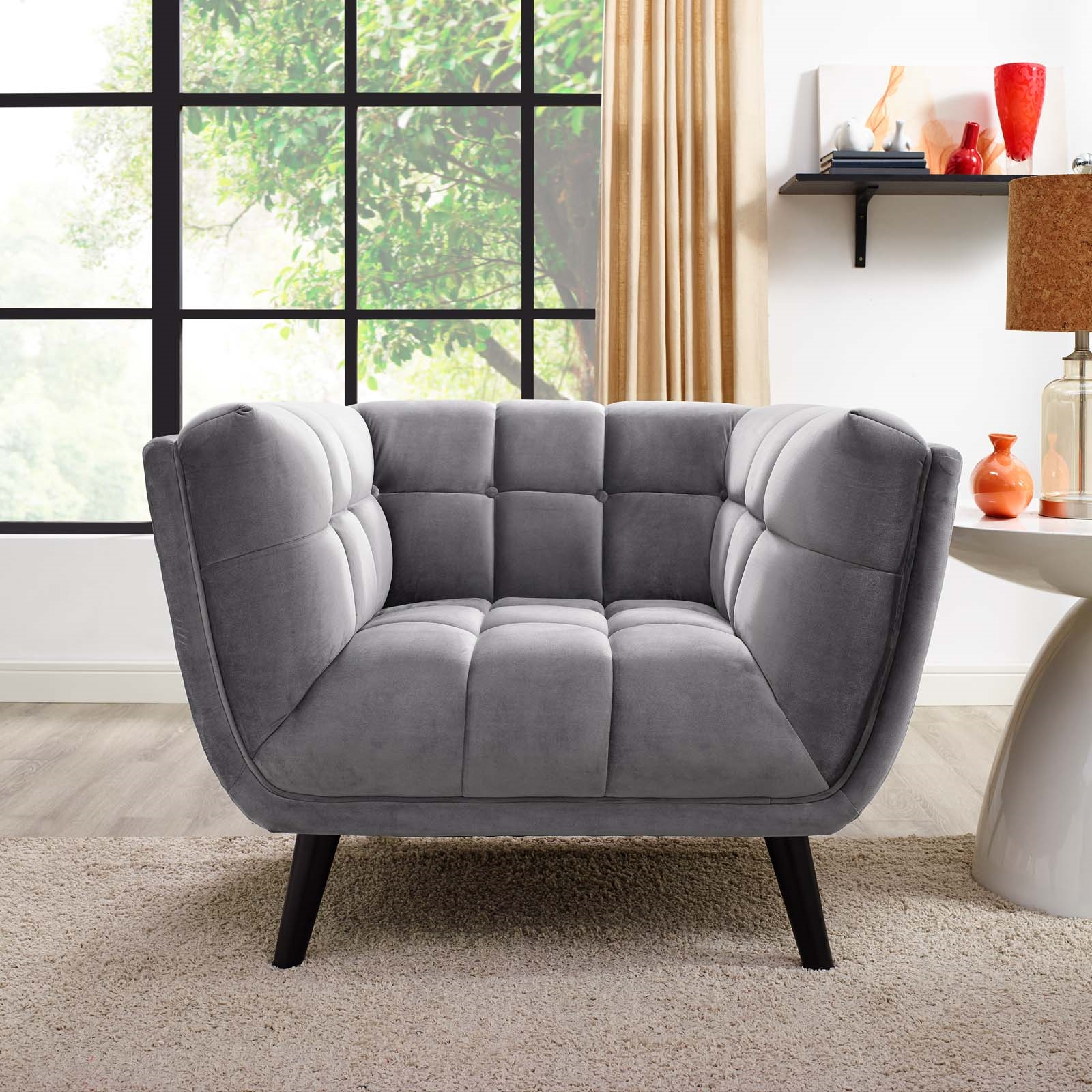 Bestow Performance Velvet Armchair in Gray