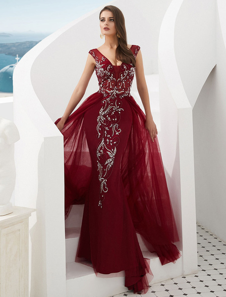 Milanoo Formal Evening Dresses Luxury Beading Tulle V Neck Mermaid Occasion Dress With Train