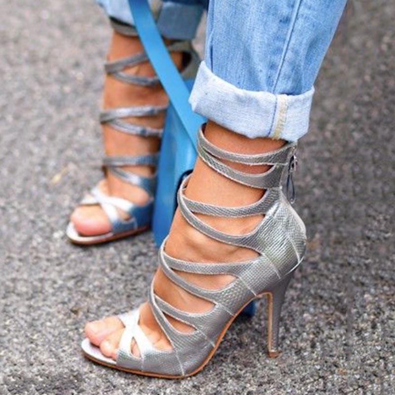 Ericdress Peep Toe Zipper Plain Stiletto Heel Shoes