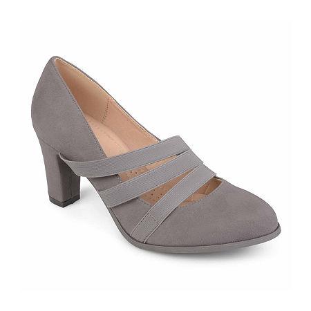 Journee Collection Womens Loren Pumps Stacked Heel, 7 Medium, Gray