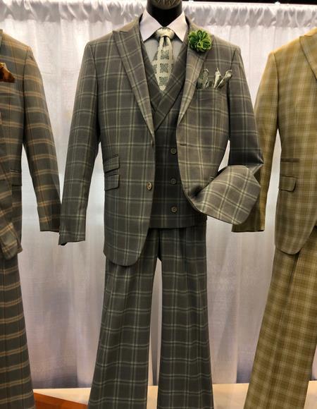 Mens Vintage Plaid ~ Windowpane Vested Suit 3 Pieces Regular Fit Tan