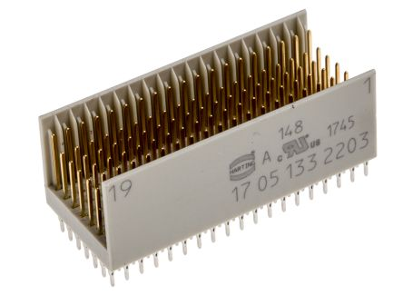 HARTING Har-Bus HM Series 2mm Pitch Backplane Connector, Male, Straight, 7 Row, 133 Way (13)