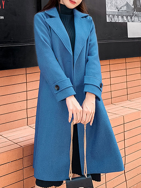 Milanoo Women Pea Coat Blue Turndown Collar Long Sleeve Double Breasted Wrap Coat