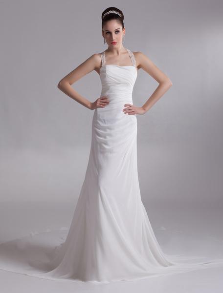Milanoo Halter Rhinestone Chiffon Bridal Wedding Dress
