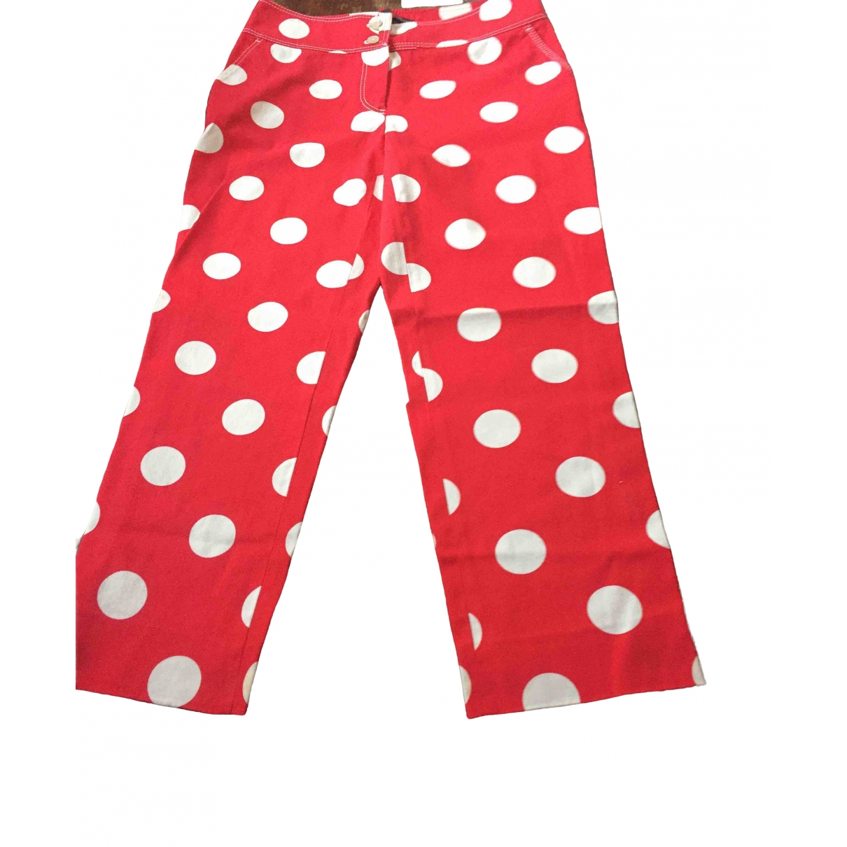 Non Signé / Unsigned \N Red Cotton Trousers for Women 42 IT