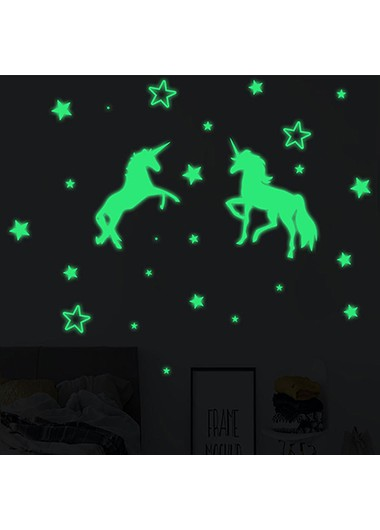 1pc 28.5 X 20cm Unicorn Design Luminous Wall Sticker - One Size