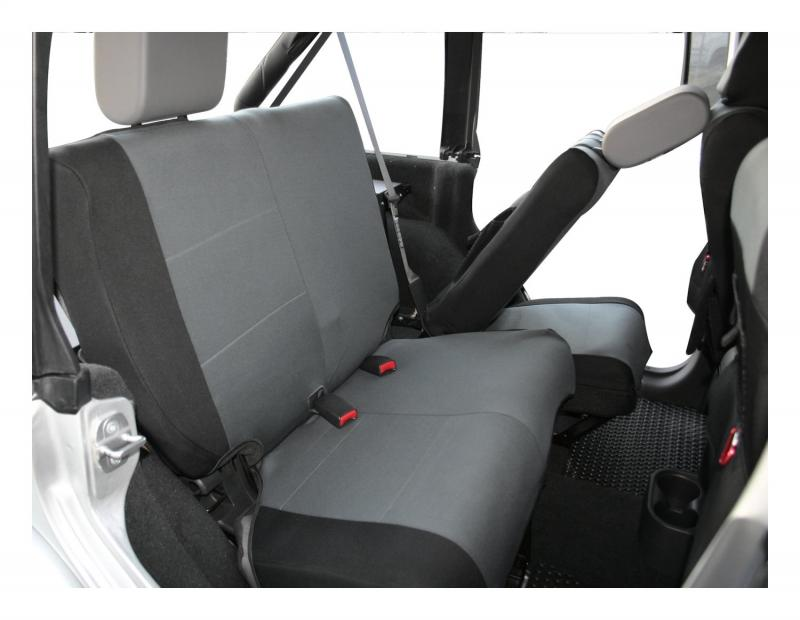 RT Offroad SC30221 Rear Polycanvas Seat Cover for Jeep 07-11 JK Wrangler w/ 4-Doors; Black/Gray Jeep Wrangler Rear 2007-2011