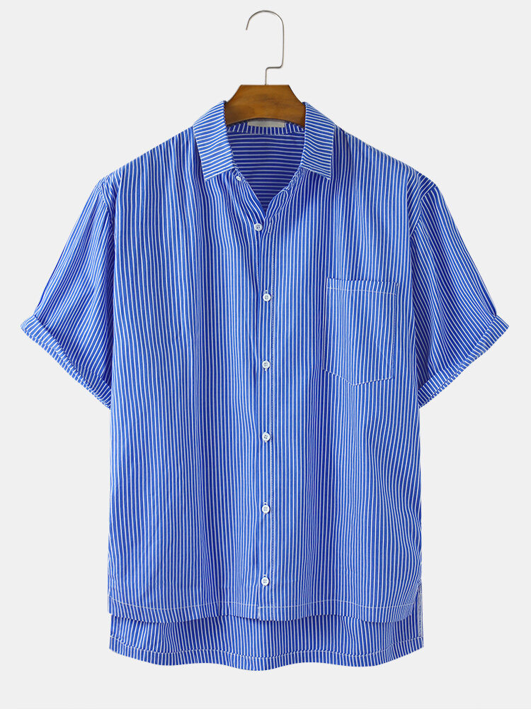 Mens Pinstripe Patchwork Light Casual Short Sleeve Shirts With Pocket