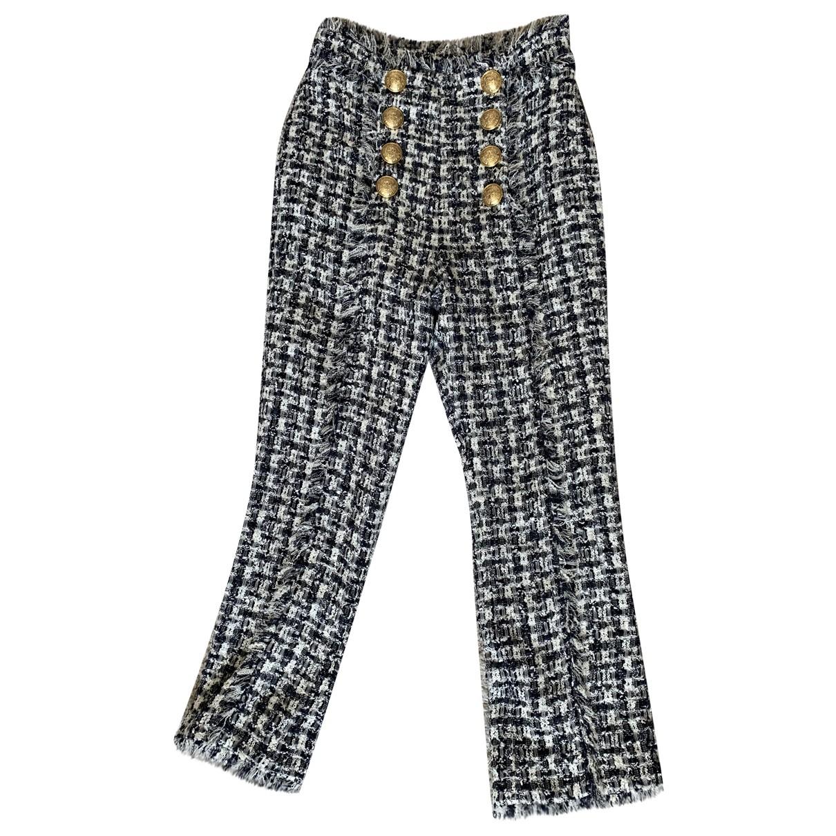 Balmain \N Black Tweed Trousers for Women 38 FR