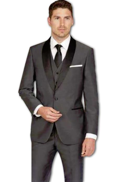 Men's Shawl Slim Fit Single Breasted Dark Grey Vested Tuxedo Suit