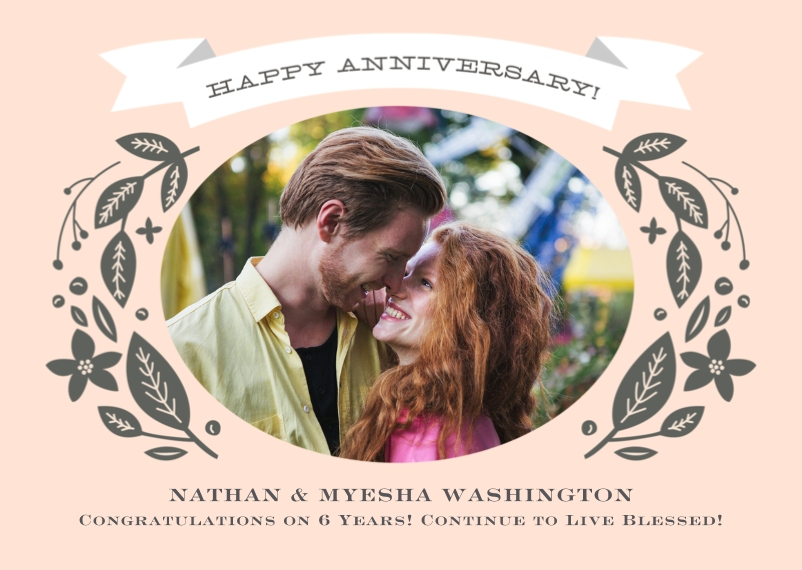 Anniversary 5x7 Folded Cards, Premium Cardstock 120lb, Card & Stationery -Anniversary Vintage Foliage