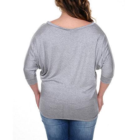 White Mark-Plus Womens Boat Neck 3/4 Sleeve Tunic Top, 2x , Gray
